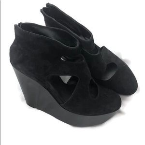 ROBERT CLERGERIE CUTOUT BLACK SUEDE WEDGE 11
